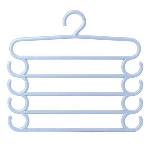 ZHFEL Hosenständer Anti-Rutsch, Erwachsener Kind Mehrschichtig Lagerung Multifunktional Kunststoff Hang Haken Haushalt Langlebig Platzsparend Zum Hosen Schal Krawatte-Blau-5 Pack (Fünf Jahres Engagement Kostüm)