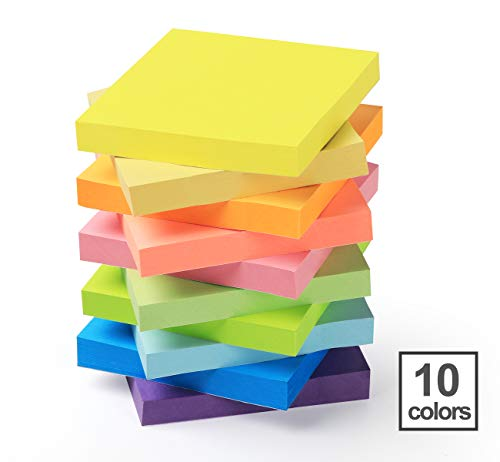 10 Stück Haftnotizen 76x76mm Super Sticky Notes selbstklebende Haftnotizzettel Sticky Notes Klebezettel bunt zettel farbig Notizblöcke für Büro Haus, 1000 Blatt insgesamt, 10 Farben