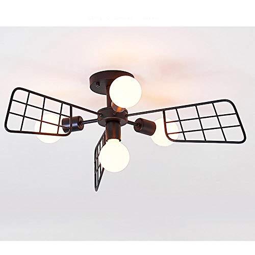 Retro Simple Personalidad Elegante Estilo industrial Lámpara de techo de hierro Ventilador negro Metal...
