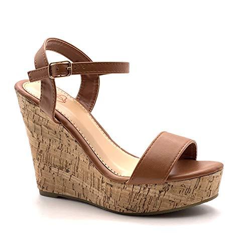 Angkorly - Damen Schuhe Sandalen Pumpe - High Heels - Folk/Ethnisch - Böhmen - String Tanga - Basic - Kork Keilabsatz high Heel 12 cm - Camel 660-10 T 40