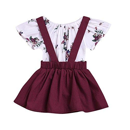 Minuya Neugeborenen Baby Mädchen Kurzarm Floral Blume Strampler Spielanzug + Straps Overalls Kleider Kleidung 2 Pcs Bekleidungssets (Floral Overall Kleid)