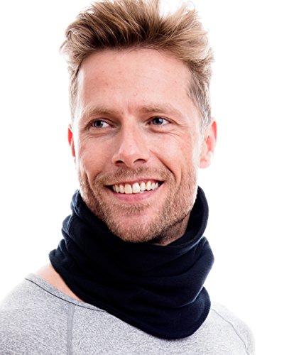 Hilltop Polar Multifunktionstuch / Mütze / Motorradmaske / Skimaske / Kälteschutz / Gesichtsmaske / Halswärmer/ Polar Halstuch mit Kordelzug 100 % Fleece, Design / Farbe:schwarz doppell. Strick