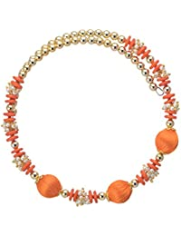 Jewel Hevean Orange And Golden Pendant Necklace Set For Women