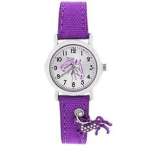 Crystal blue Mädchen Uhr Analog Quarz mit Textilarmband 20016