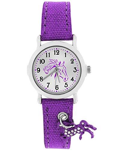 Crystal blue Kinder-Armbanduhr mit funkelndem Anhänger Pferd Textilarmband Mädchen Analog Quarz violett lila 20016