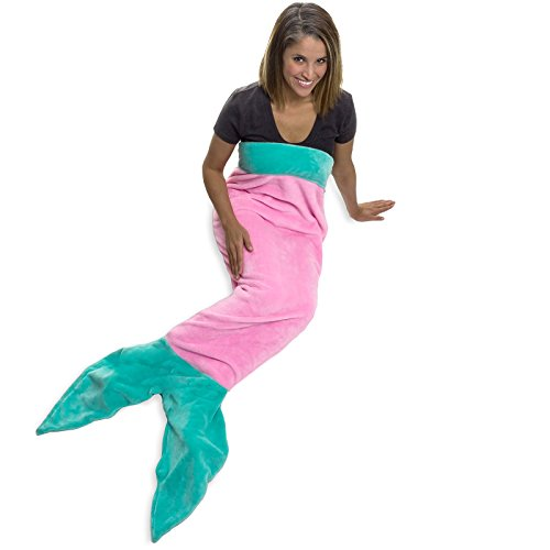 """Meerjungfrau Schwanz Decke von Silber Lilly-Plüsch Meerjungfrau Schwanz für Erwachsene und Kinder, Polyester, Pink Pearl & Turquoise Sea, 59.5"""" x 20"""""""