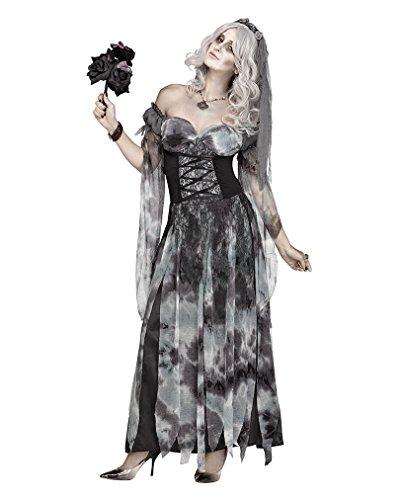 Horror-Shop Friedhofs Gothic Hochzeitskleid Halloweenkostüm Brautkleid mit Schleier M/L
