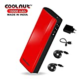 COOLNUT Power Bank 10000mAh External Battery Dual USB Portable Charger for all Android & Smartphone Compete Kit (3 USB Cable & Adaptor)-Red