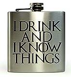 """Petaca de 177 ml, inspirada en la serie Juego de Tronos, con texto en inglés """"I Drink and I Know Things"""""""