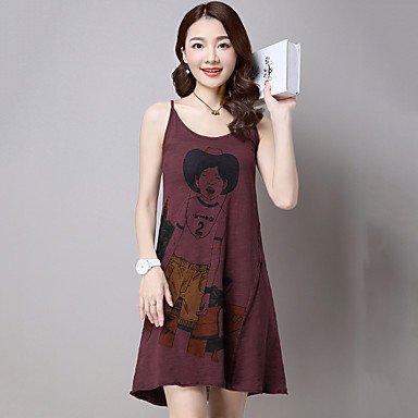 PU&PU Robe Aux femmes Ample simple / Mignon,Imprimé A Bretelles Au dessus du genou Coton / Lin NAVYBLUE-2XL