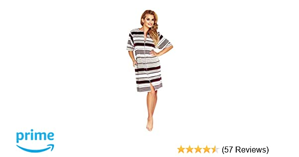 Wanmar Company Womens Short Sleeved Knee Length Lightweight Zip Up Dressing  Gown Soft Housecoat Robe dac0e99e4