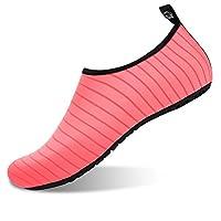 JIASUQI Summer Barefoot Water Skin Shoes Aqua Socks for Womens Surf Pool Yoga Beach Exercise Orange, 3.5/4 UK(EU36/37)