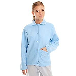 41ty%2BC9ciyL. SS300  - Ladies Fleece Bed Jacket with Floral Pattern on Collar and Single Front Pocket Pink, Blue, Aqua Sizes 10-12, 14-16, 18…