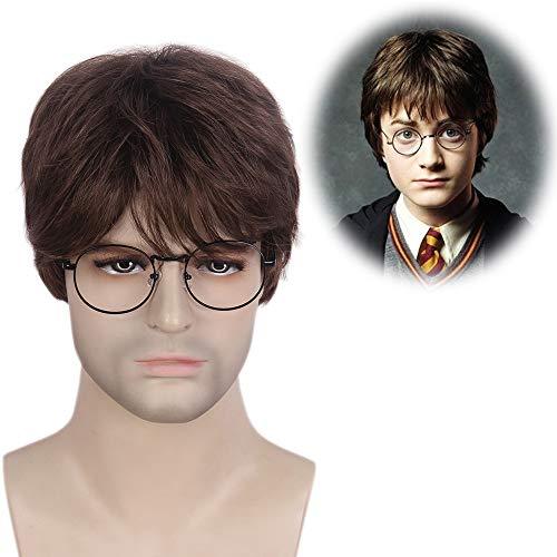 STfantasy Herren Perücke Harry Potter Cosplay Natürlich Perrücke Braun Kurz Gerade Layered wie echt Wig für Halloween Karneval Party Alltag Mann Men ()