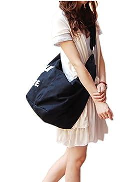Umhängetasche damen koreanische Tasche canvas Schultertasche für Arbeit, Alltag, Schule, Wandern, Einkaufen, Reise...