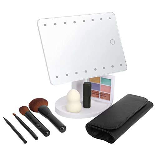KYG Schminkspiegel mit 16 LEDs Beleuchtung, USB Wiederaufladbarer Kosmetikspiegel,  batteriebetrieber Tischspiegel, dimmbarer Make up Spiegel Standspiegel, Weiß - 7