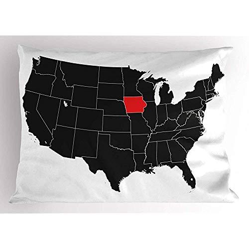Ingram IV 2Stück Iowa State Pillow Sham, Nordamerika Karte zeigt die Iowa State einfache Kartografie Design, dekorative Standard Queen Size gedruckt Kissenbezug, 18 'x 18', schwarz Zinnoberrot Weiß