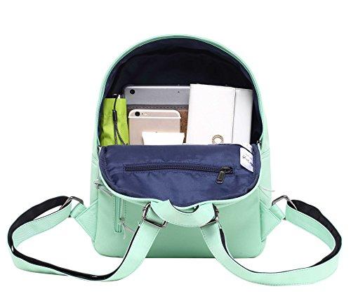 OLETHA Zaino Piccolo Mini Borsellino per Donna | A4 formato | 34x23x11cm | Fenicotteri D208B, Verde rosa