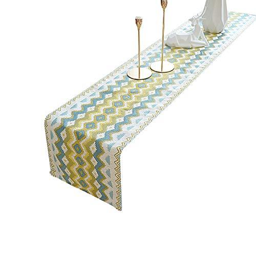 Chemins de table Chemin de table en polyester et coton 12,9 x 82,6 pouces pour la maison Salon Table à manger Ambiance Décorative (Couleur : Style-3, taille : 33X210cm)
