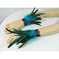 Federarmbänder türkis Manschetten Cuffs Vogel Kostüm Burlesque Gothic Fetisch Armschmuck pfau Karneval