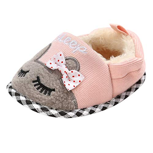 BoyYang Kinder Hallenschuhe, Winter Baumwolle Pantoffeln Plüsch Wärme Weiche Hausschuhe Kuschelige Home rutschfeste Slippers mit Cartoon für Baby Jungen Mädchen (12,Rosa)