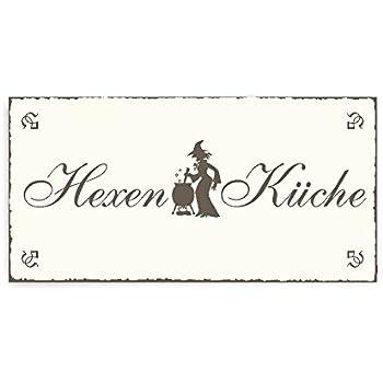 Shabby Vintage Schild Türschild HEXENLANDEPLATZ Halloween Dekoration Gothic Hexe