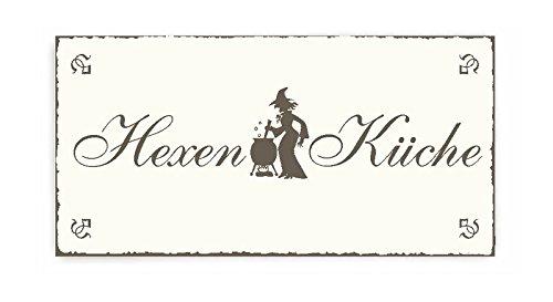 SCHILD Dekoschild « HEXENKÜCHE » Shabby Vintage Holzschild Türschild selbstklebend - Hexe Küche ()