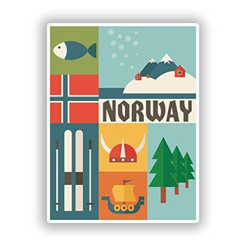 2x 10cm/100mm Norwegen Vinyl Aufkleber Reise Gepäck # 10769 (Kommode Gepäck)