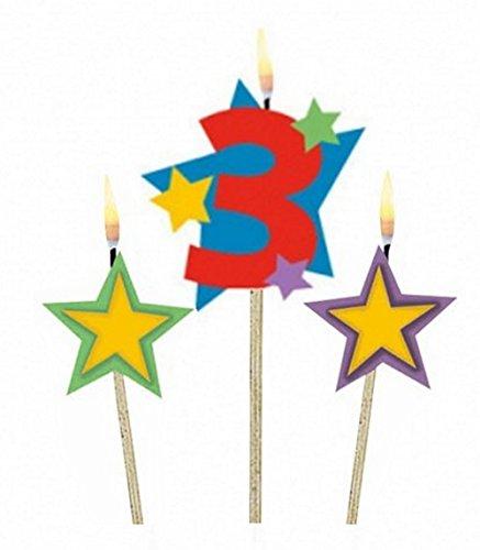 3 Geburtstagskerzen Sterne mit Zahl Kuchendeko (Zahl 3)
