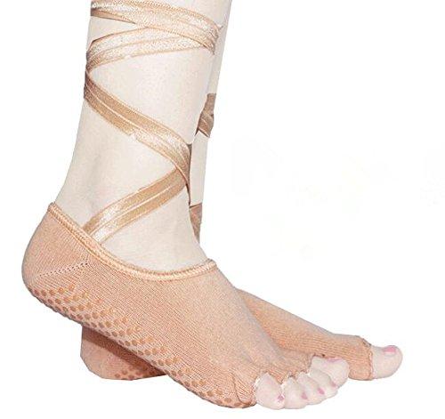 Meshen tether open punta aperta calze antiscivolo donna, esercizio di fitness yoga palestra antiscivolo calzini massaggio dei piedi con la piena aderenza per donna, in viaggio, uso domestico, gel di silice pack bordo, tessuto jacquard in puro cotone