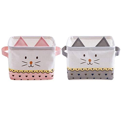 Inwagui 2er Set Klein Aufbewahrungskorb Faltbare Stoff Aufbewahrungsbox Haushalts Organizer für Schlafzimmer Regal Desktop Kinder Spielzeug - Nette Katze, Rosa&Grau