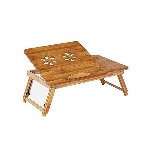 MSchunou Bamboo Laptop Desk Verstellbarer tragbarer Frühstücks-Serviertablett mit kippbarer oberer Schublade auf dem Bett Learn Write Small Table -
