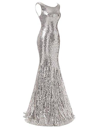 Ysmo Damen Scalloped Sequin Prom Kleider Meerjungfrau Abendkleid ...
