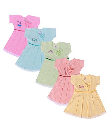 Jo Kids Wear Baby Girls Frock Set (4015_Multicolour_0 - 3 Months)
