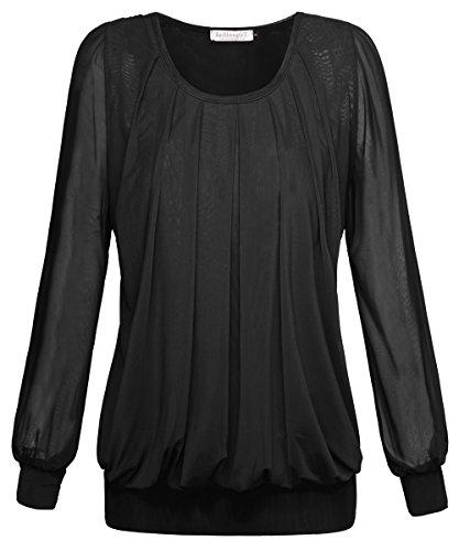 BAISHENGGT Damen Langarmshirt Rundhals Falten Shirt Stretch Tunika Schwarz XL