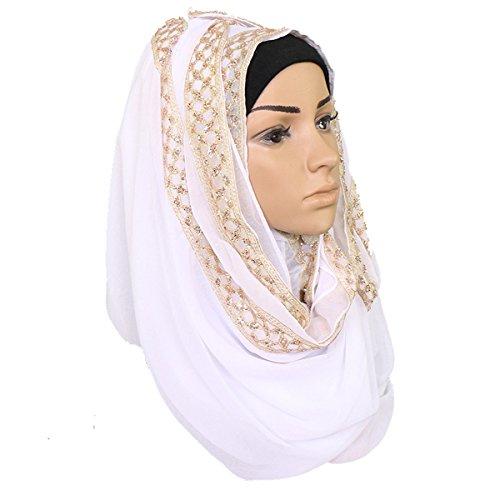GoGou Frauen Schal Hijabs Rhinestone Plain Glitter Soild Muslim Schals Lange Wrap Schals Kopftuch (White) (Schal Für Hijab)