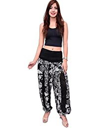 Dream Fashion Black White Viscose Floral Printed Harem Pant For Women's (Size_Free_Black_White_Floral Print)