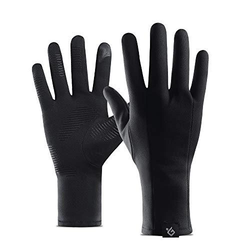 Golovejoy Running Gloves Winter Warm Cycling Riding Mountain Bike Gloves Black Long Ski Driving Gloves Touchscreen Windproof Inner Gloves for Men & Women (Nero, L)