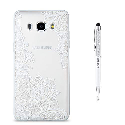 Grandoin Galaxy J7 2016 Hülle,J710 Hülle, 2 in 1 Ultra Dünne Schale Ultra Dünn Weich TPU Bumper Case Silikon Schutzhülle für Samsung Galaxy J7 2016 / J710 (weißer Lotus)