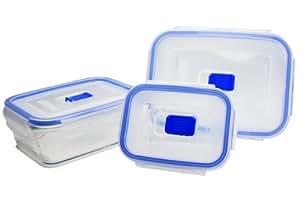 Luminarc 9207686 Coffret de 3 Boîtes Rectangle avec Couvercle Pure Box Active Verre Transparent 18,5 x 14 x 23 cm