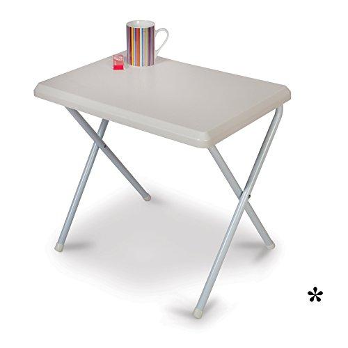 Klapptisch weiß aus widerstandsfähigem Kunststoff 51x37cm • Campingtisch Gartentisch Koffertisch...