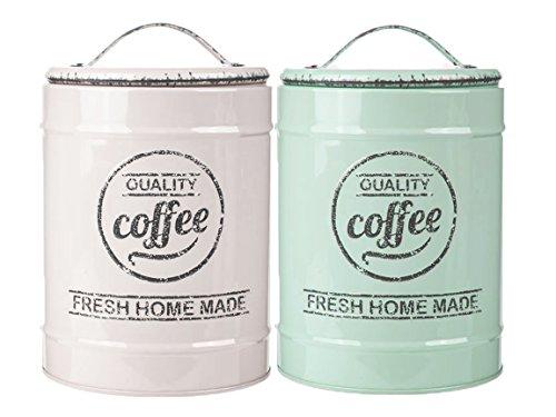 Bada Bing 2er Set Metalldose Kaffeedose Vorratsdose Rund mint grau weiß Kaffee Tee Zucker Dose 1936