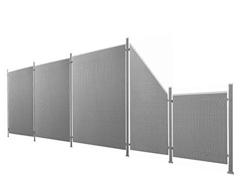 Poly-Rattan Sichtschutz / Zaun-Set 11-teilig anthrazit ca. 687cm Prime Tech