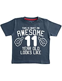 Edward Sinclair This What AN Awesome 11 Year Old Looks Like Navy Boys 11th Birthday T-Shirt in Size 12-13 Years with A White Print