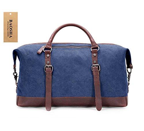 BAOSHA Vintage Segeltuch Canvas PU Leder Unisex Handgepäck Reisetasche Sporttasche Weekender Tasche für Kurze Reise am Wochenend Urlaub Arbeitstasche 40 Liter Aktualisiert (Schwarz) Blau