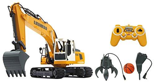 Jamara 405112 Bagger Liebherr R936 1:20 2,4G Destruction-Set - inklusiv Schalengreifer und Abbruchhammer, Metallschaufel, jedes Gelenk einzeln steuerbar, realistische Funktionen,660 Grad Turmdrehung