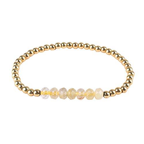 Armbänder Handgemachte Kristall Perlen Armbänder Naturstein Armreifen Schmuck für Frauen Mädchen - Gelb H ()