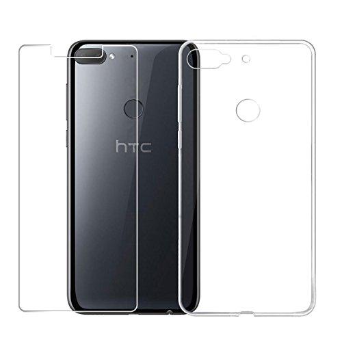 """LJSM HTC Desire 12+ / HTC Desire 12 Plus Transparent Coque + Film Protecteur Verre trempé écran Protecteur HD - Souple Silicone Étui Protection Housse TPU Case Cover pour HTC Desire 12+ (6.0"""")"""