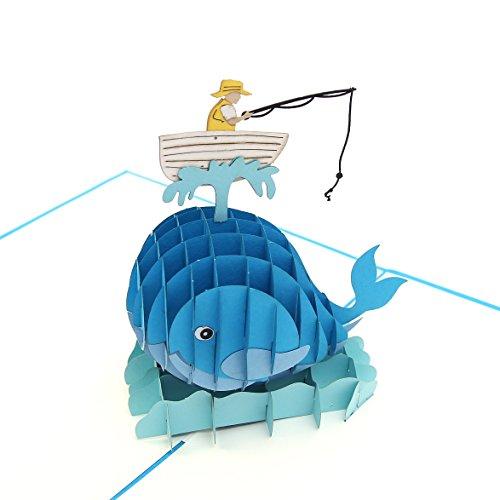 liif Fisherman blau Pop-Up-Karte, 3D Angeln Grußkarte Pop-up-Karte für alle Anlässe, Geburtstag, Vatertag, Ruhestand, Get Well, nur weil, handgefertigt Geschenk für FISHER Lover