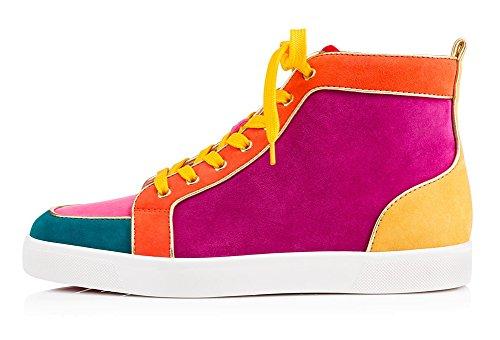zxd-tsingtao-zapatillas-casual-botines-colores-atrevidos-de-cana-alta-con-cordones-en-textil-y-piel-
